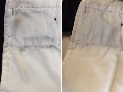 シミ抜き事例byインスタグラム【ズボンのポケットの内側についた汗による色移り】