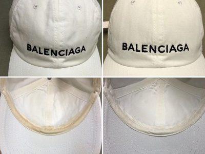 シミ抜き事例byインスタグラム【バレンシアガ(balenciaga)のキャップのファンデーションのシミ抜き】
