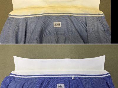 シミ抜き事例byインスタグラム【アルマーニのYシャツの襟汚れのシミ抜き】