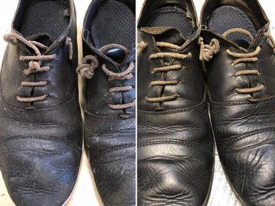 シミ抜き事例byインスタグラム【革靴のカビ取りシミ抜き&クリーニング&色修正】