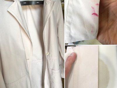 シミ抜き事例byインスタグラム【ジャケットの袖口口紅のシミ抜き】