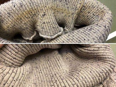 シミ抜き事例byインスタグラム【綿セーターの襟汚れのシミ抜き】