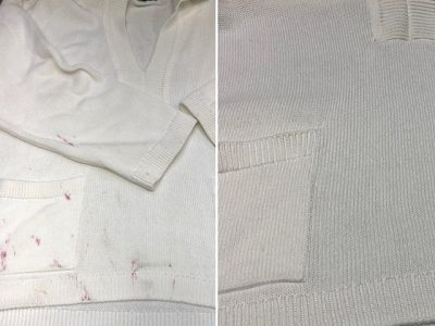 シミ抜き事例byインスタグラム【綿セーターのシミ抜き(ツツジ)】