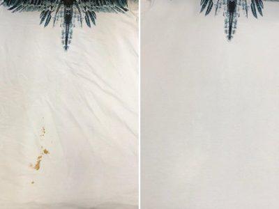 シミ抜き事例byインスタグラム【マルセロバーロン(Marcelo Burlon)Tシャツのお好み焼きソースのシミ抜き】
