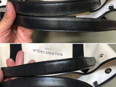 シミ抜き事例byインスタグラム【バレンシアガ(balenciaga)のトートバッグの皮革部分の色修正】